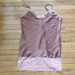 Victoria Secret brown pink lace slip night gown
